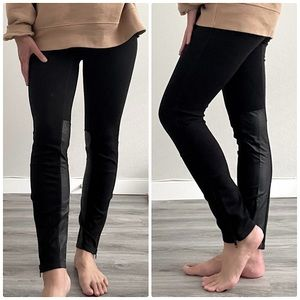 Madewell Faux Leather Panel Ponte Leggings